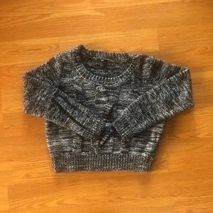 Marled Black & White Knit Sweater